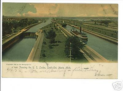SAULT STE MARIE MICHIGAN MI US LOCKS 1905 POSTCARD