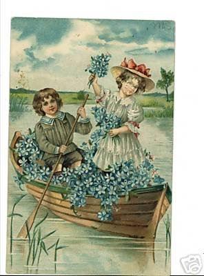 BOY GIRL CANOE BLUE FLOWERS VINTAGE POSTCARD