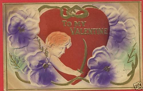 VALENTINE'S DAY CUPID SWORD HEART 1910  POSTCARD