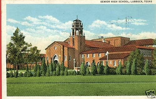 LUBBOCK TEXAS SENIOR HIGH SCHOOL 1937 POSTCARD