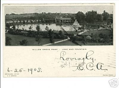 WILLOW GROVE PARK PENNSYLVANIA 1905 POSTCARD FOUNTAIN