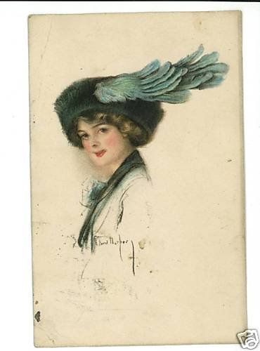 R FORD HARPER WOMAN BLUE FEATHER HAT POSTCARD 1916