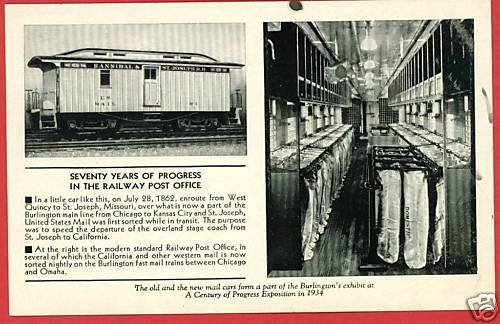 RAILWAY POST OFFICE CENTURY OF PROGRESS POSTCARD 1934
