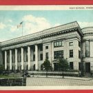 WHEELING WV WEST VIRGINIA HIGH SCHOOL OLD CARS POSTCARD