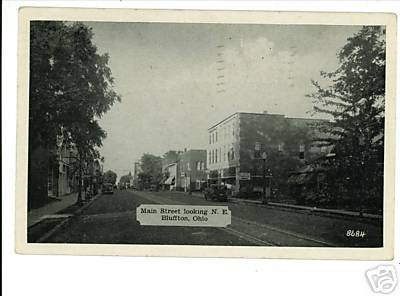 BLUFFTON OHIO OH MAIN ST 1948 POSTCARD STREETCAR LINE