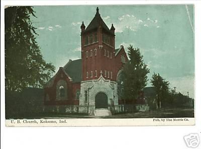 KOKOMO INDIANA IN U.B. CHURCH 1909 POSTCARD
