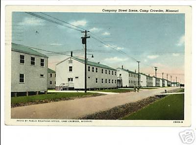 CAMP CROWDER MO COMPANY STREET 1943 POSTCARD BARTLETT