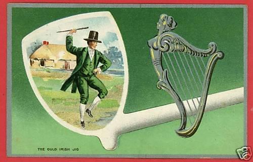 ST PATRICK'S DAY IRISH JIG PIPE HARP 1911 POSTCARD