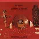 SKAGWAY ALASKA RICHTER'S JEWELRY CURIOS GOLD  POSTCARD