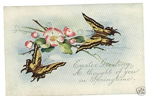 EASTER BUTTERFLY BUTTERFLIES 1917 POSTCARD