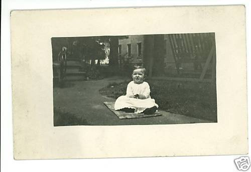 RPPC BABY ON RUG OUTSIDE REAL PHOTO POSTCARD