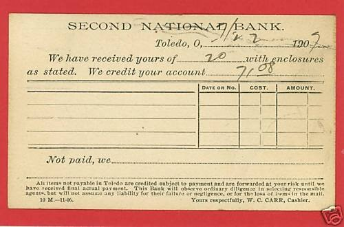 TOLEDO OHIO SECOND NATIONAL BANK PRIVATE MAILING CARD