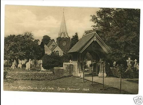 STOKE POGES CHURCH - LYCH GATE VINTAGE POSTCARD UK