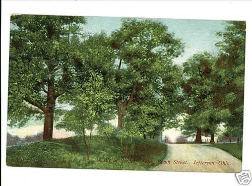 JEFFERSON OHIO OH  BEACH STREET 1909 POSTCARD