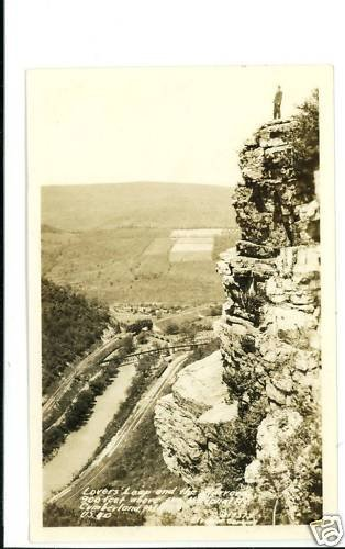 RPPC CUMBERLAND MD LOVER'S LEAP 1937 NATL HIGHWAY US 40