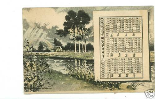 CALENDAR 1914 WOOLUMS POSTCARD