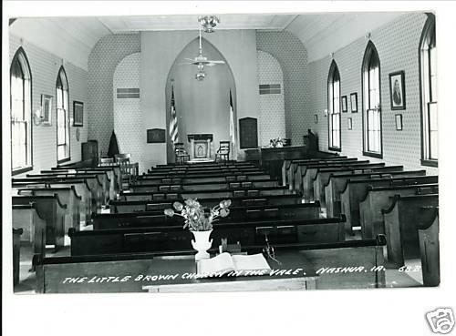 NASHUA IA LITTLE BROWN CHURCH INTERIOR REAL PHOTO PSTCD