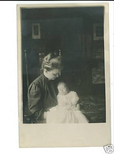 RPPC MOTHER & BABY IN GOWN  INTERIOR VINTAGE POSTCARD