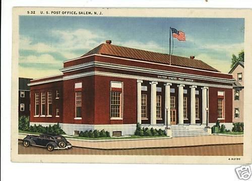 SALEM NEW JERSEY U.S. POST OFFICE POSTCARD 1941