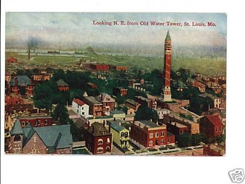 St Louis MO Water Tower-Bird's eye  Vintage Postcard