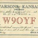 PARSONS KANSAS HAM RADIO POSTCARD BRYCE BANDY 1934