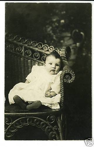 RPPC BABY IN WICKER LOVE SEAT BOOTIES   ADORABLE !