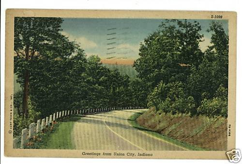 UNION CITY INDIANA IN GREETINGS FROM 1952  POSTCARD