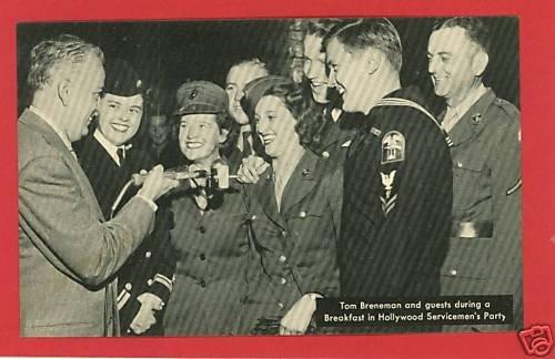 RADIO HOLLYWOOD  TOM BRENAMAN SERVICEMEN POSTCARD WWII