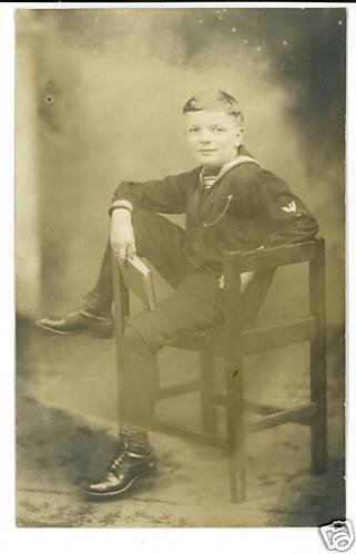 RPPC BOY SAILOR SUIT BOOK REAL PHOTO POSTCARD