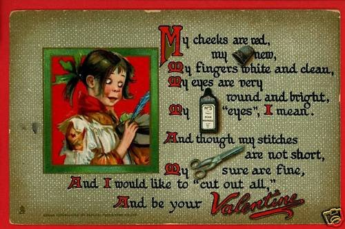 TUCK VALENTINE POTS AND PANS GIRL CHEEKS RED  POSTCARD