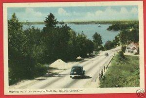NORTH BAY ONTARIO CANADA HIGHWAY 11 OLD CARS   POSTCARD