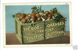 CALIFORNIA BOX WOOD CRATE OF ORANGES 1930  POSTCARD