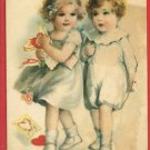 VALENTINE BOY AND GIRL LOVE HEARTS WOLF 1922  POSTCARD