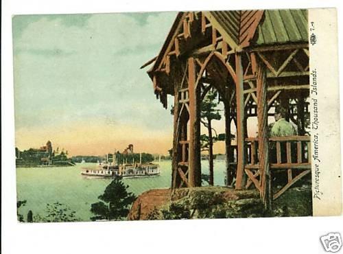 THOUSAND ISLANDS NEW YORK STEAM BOAT 1908 POSTCARD
