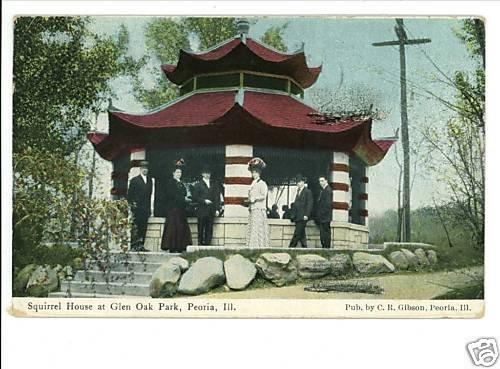 PEORIA IL SQUIRREL HOUSE GLEN OAK PARK 1910 POSTCARD