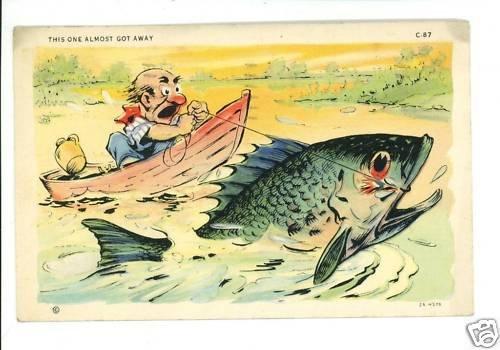 FISH EXAGGERATION FISHING BOAT JUG 1939  POSTCARD