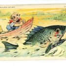 FISH EXAGGERATION FISHING BOAT JUG 1939  POSTCARD