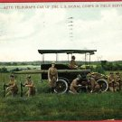 AUTO TELEGRAPH CAR US SIGNAL CORPS FIELD POSTCARD 1912
