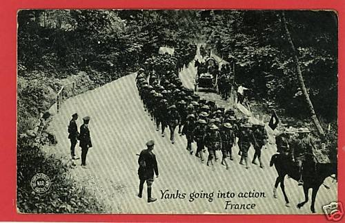 WWI YANKS ACTION FRANCE CHICAGO DAILY NEWS WAR POSTCARD