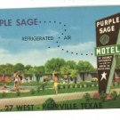 KERRVILLE TEXAS TX PURPLE SAGE MOTEL  POSTCARD