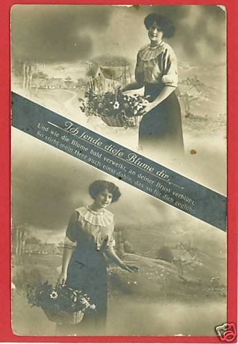 RPPC WOMAN WITH FLOWERS GERMANY GERMAN RP POSTCARD