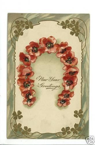 NEW YEAR PFB FLOWERS HORSESHOE 1908 POSTCARD