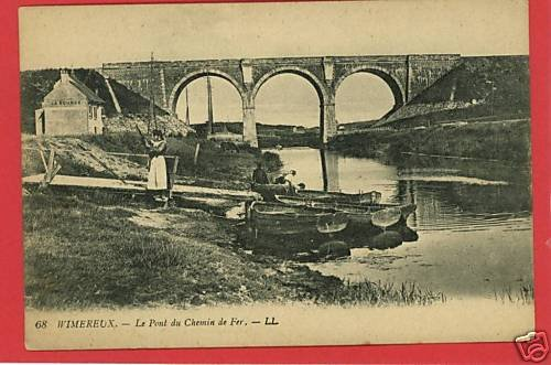 WIMEREUX  FRANCE CHEMIN  BOATS WOMAN BRIDGE  POSTCARD