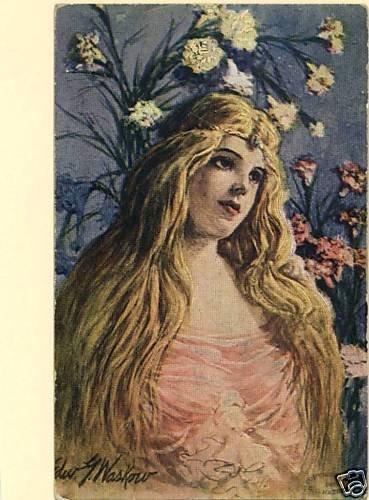 EDWIN WASKOW  1907 BEAUTIFUL WOMAN  LONG HAIR  FLOWERS