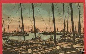 VOLENDAM HAVENGEZICHT HOLLAND POSTCARD SAILBOATS SHIPS