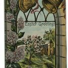 EASTER GREETINGS BELLS CHURCH WINDOW SAXONY  POSTCARD