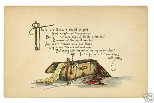 TREASURE CHEST AND KEY CANDLESTICKS PEASE POSTCARD