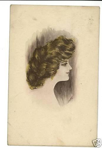 COBB SHINN ARTIST SIGNED BEAUTIFUL WOMAN HAIR POSTCARD