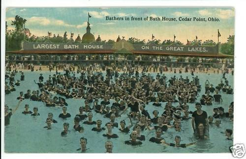 CEDAR POINT OHIO OH BATH HOUSE BATHERS SWIM  POSTCARD