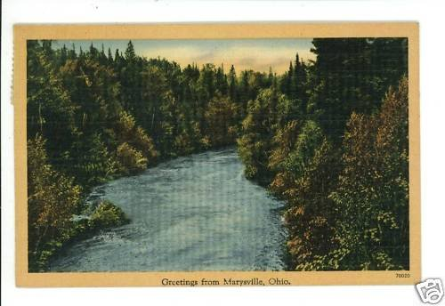 MARYSVILLE OH OHIO GREETINGS FROM 1945  POSTCARD